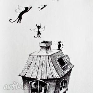 hand made dekoracje rysunek piórkiem kocie marzenia artystki plastyka adriany laube