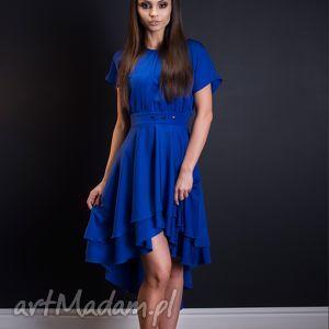 Kobaltowa sukienka wizytowa przedłużana z tyłu, ogonem, rozmiar 36,