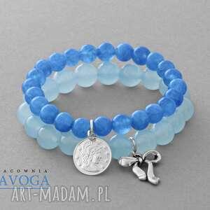 blue jade set - kokardka, moneta, jadeit