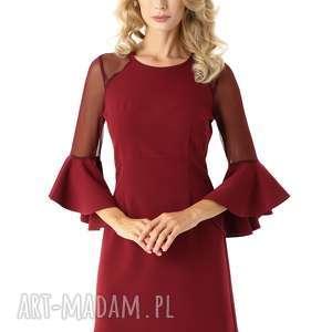 Sukienka szerokimi rękawami i tiulowymi wstawkami bordowa, elegancka-sukienka