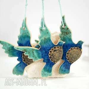 3 ceramiczne ptaszki choinkowe - boho, ozdoby