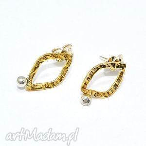złocone romby, sztyfty, srebrne, 925, złocone, klasyczne, delikatne