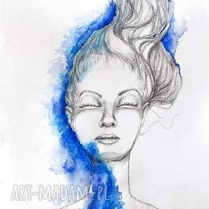 rysunek ołówkiem z dodatkiem akwareli spokój artystki plastyka adriany