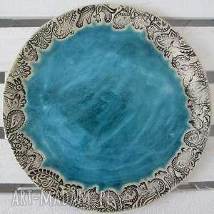 turkusowa etno patera, etniczna, ceramiczna, talerz, ceramiczny, dekoracyjny