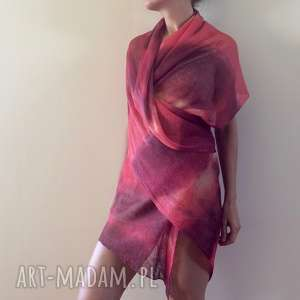 Ręcznie barwiony duży lniany szal szaliki anna damzyn szal, len