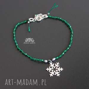 Zielona śnieżynka, chromodiopsyd, gwiazdka, srebrna, bransoletka, aniagrys