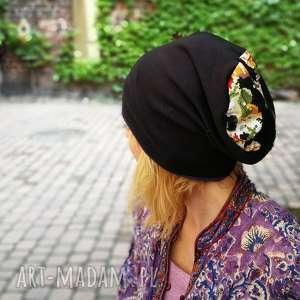 czapka damska przejściówka bawełna kwiaty, czapka, etno, boho, styl, sport, kwiaty