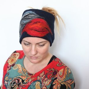 Prezent opaska damska haftowana na podszewce, opaska, haftowana, ciepła, merynosy