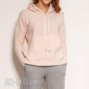 swetrowa bluza - swe140 róż, bluza, z kapturem, miękki sweter