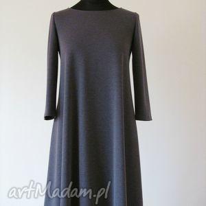 sukienki 7 - sukienka ciemno szara, sukienka, sukienki, dzianina, rozkloszowana