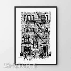 plakat obraz avenue a3 - 29 7x42 0cm, obraz, dom, nowy jork, do salonu, czarno