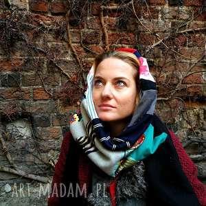 komin patchworkowy zimowy boho handmade kolorowy ciepły z frida kahlo, etno