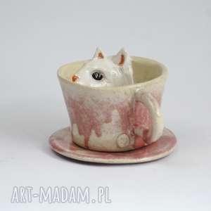ceramiczna filiżanka kubek z kotem - różowa, kubek, zkotem, naprezent, dlababci