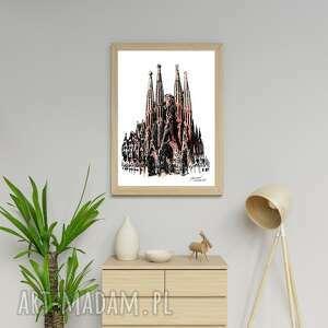 sagrada familia grafika barcelona a3, barcelona, atrakcja turystyczna, nowe