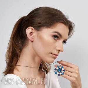 błękitna rozeta naszyjnik srebrny a586, wisior rozeta, wisior