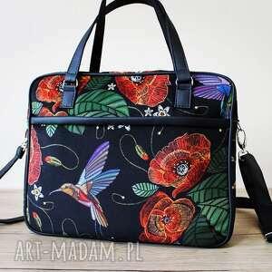torba miejska - maki i koliber, elegancka, pakowna, maki, kwiaty, prezent