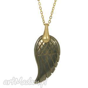 naszyjnik z pirytem, pozłacany mosiądz 14 karatowym złotem - naszyjnik