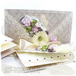 kopertówka retro - retro, kopertówka, kwiaty, damask, kokarda, motyl