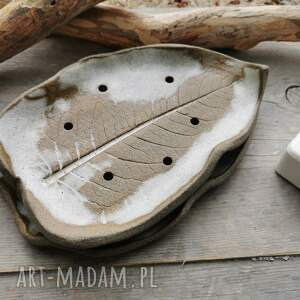 handmade ceramika duża ceramiczna mydelniczka (c241)