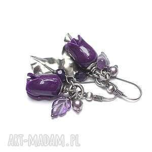 róże /purple/ - kolczyki, srebro oksydowane, koral róże, listek, ametyst, perły