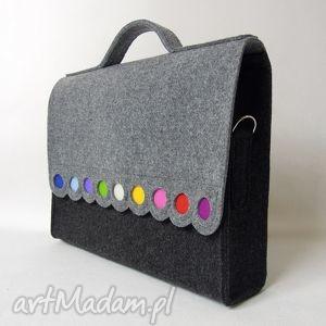 teczka filcowa na laptopa, dokumenty, do szkoły, ramię, kolorowa, laptop, torebka