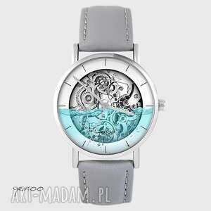 ręczne wykonanie zegarki zegarek - wodny steampunk szary, skórzany