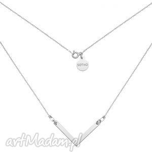 srebrny naszyjnik z zawieszką v sotho - łańcuszek, minimalistyczny