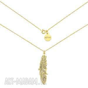 złoty naszyjnik z piórem - łańcuszek, piórko, zawieszka