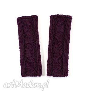 handmade rękawiczki mitenki z warkoczem bez palców dziergane