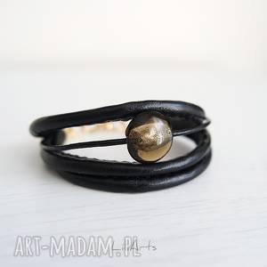 bransoletka - czarna złota, bransoletka, rzemienie, skórzana, elegancka