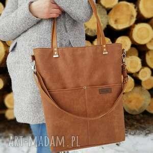 ręcznie wykonane na ramię duża torba rudy brąz