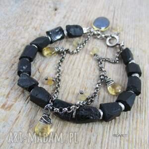 czarny kamień muśnięty słońcem - bransoletka 452, spinel, turmalin