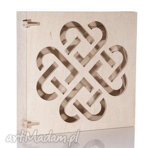 szafka na klucze drewniana wzór celtycki serca, naturalna, szafka, skrzynka, drewno