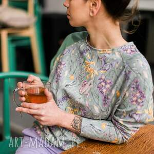 pastelowa bluza damska - flora, bawełniana bluza, kolorowa w kwiaty