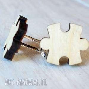 handmade spinki do mankietów drewniane puzzle