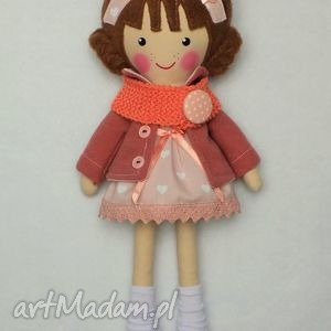 dollsgallery malowana lala basia z wełnianym szalikiem, lalka, zabawka, przytulanka