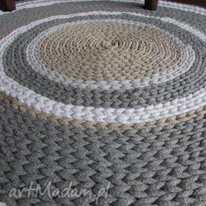 Ręcznie robiony dywan w pastelowych kolorach, dywan, manufaktura, szydełko, bawełna
