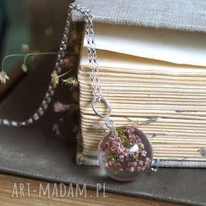naszyjniki naszyjnik z wrzosem, srebrny łańcuszek, żywica, wrzos, kwiaty, naturalna