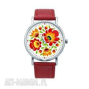 Zegarek z grafiką wiosenny folk zabawki ludowelove kwiaty