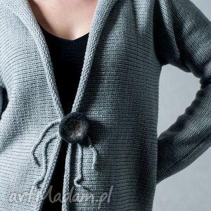 Szary rozpinany sweter - ArtHermina, sweter, wełna,