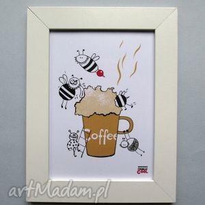 Coffee , grafika z serii YUMMY coffee, kawa, kuchnia, pszczółka, grafika, plakat