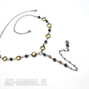 black /gold/ - naszyjnik, srebro, oksydowane, hematyty, onyksy