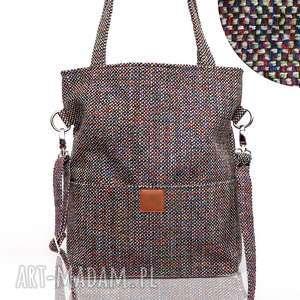 torebka z grubej melanżowej plecionki kieszonkami na ramię lub skos, melanżowa