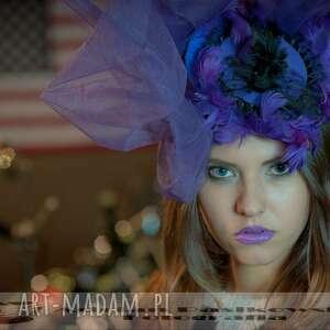 ozdoby do włosów fioletowy fascynator, fasynator, fioletowy, tiul, projektant