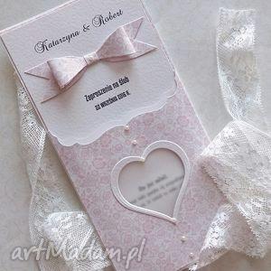 Zaproszenie ślubne z serduszkiem - ,ślub,wesele,zaproszenia,