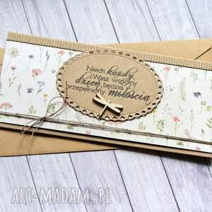 hand made kartki kartka kopertówka ślubna - delikatna łąka