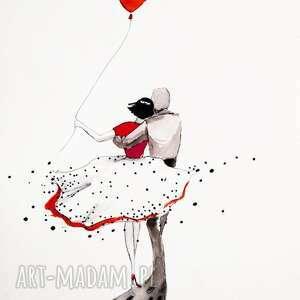 PARA praca akwarelą i piórkiem artystki plastyka Adriany Laube, akwarela, para