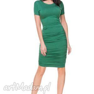Sukienka T159 marszczona po bokach, zielona - dzianina, wiskoza, marszczona