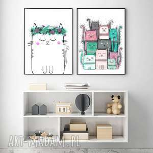 Zestaw 2 prac A3, kot, koty, kotki, dzieci, ilustracja, grafika