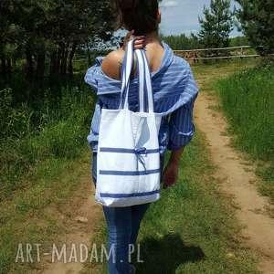 Torba z Białego Jeansu, torba, jeans, dżins, eko-torba, kropeczki, denim